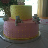 Baby Shower Chocolate cake with chocolate ganache filling on the bottom, rocky road filling on top; iced in buttercream. I made stroller and bears from...