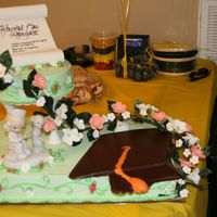 Nursing School Graduate A friend and I put together this cake for her sister. All flowers are r.i., which we made into the garland and used as decorations on the...