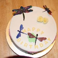 Dragon Fly Birthday Cake Made for hubby's co-worker who loves dragon flies. Key lime cake with key lime curd filling; white chocolate ganache crumb coat...