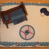 "Baby Shower Got a request for a baby shower incorporating New York Yankees. Chocolate cake with cookies-n-creme buttercream filling. Fondant ""..."
