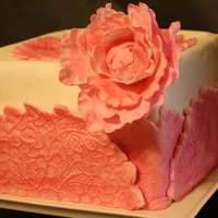 "Lace Peony Square Cake 8"" Square cake, covered in fondant, pink peony, lace wrap"