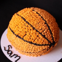 Basketball Cake Birthday cake for a b-baller! Used wilton sports ball (small).
