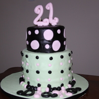 21St Birthday Cake This is a cake I made for my sissys 21st Birthday. Its fondant covered with fondant decorations. I used a wilton impression mat on the top...