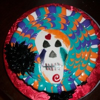 Halloween Birthday Buttercream with royal icing drippings. Skull is fondant and black buttercream roses.