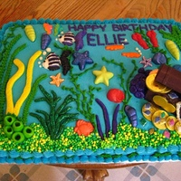 Aquarium Cake This is an aquarium (or rather the entire ocean!) I just completed for a 12 year old. I used the chocolate chip cookie dough filling from...