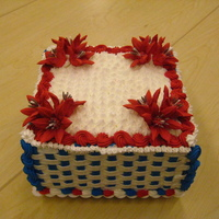 4Th Of July Lilies Basketweave with lillies for Independence Day. Display for the store