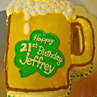 21St Birthday Beer Mug Wilton Beer Mug pan. All buttercream. His 21st birthday was on St. Paddy's Day.
