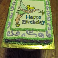 Tinkerbell Birthday Tinkerbell Buttercream transfer, buttercream iced yellow sheet cake