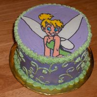 "Mini Tinkerbell 6"" Tinkerbell themed round yellow w/buttercream icing cake. Used for smash cake for little girls first birthday."