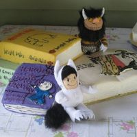 "Where The Wild Things Are cake for grandson's 2nd birthday. His favorite story is ""Where the wild things are"" so the open book was based on that with..."