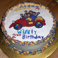 Wiggly Birthday Wiggles buttercream transfer on round cake trimmed with wiggles colors, red,yellow,blue and purple