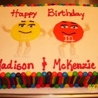 M & M Cake this is a half sheet cake for twin girls celebrating their 2nd birthday. all is buttercream and real m & m's as the border.