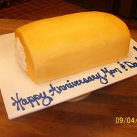 "Twinkie Anniversary Cake i used 4- 8""round cakes, every other one is choc and white cut in half. i then took a round cookie cutter and cut a hole through every..."