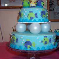 Phae's 2Nd Birthday One of my favorite cakes I made. The fish on top are ping-pong balls covered in fondant. The fish on the sides are cut out using a round...