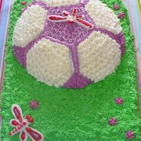 Soccor Ball In Grass Soccor ball in grass. Dragonflies were to represent the name of the team that the cake was done for.