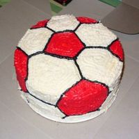Red/white Soccer Ball Two layer yellow cake, butter cream frosting