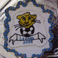 Dsc06728.jpg  This cake I made for my son's mexican soccer team end of season party. The teams name is the Leones which is spanish for lions. I made...
