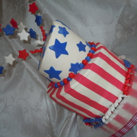 4Th Of July Cake This was my fist attempt at a topsy turvy cake for my dad's 4th of July birthday!