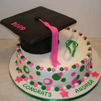 "College Graduation  A request from a Cleveland State University graduate. It's a 12"" chocolate cake iced in buttercream with fondant accents. The cap..."