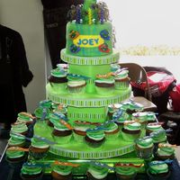 Teenage Mutanat Ninja Turtles Cupcake Tower This was for my son's 5th birthday. We had the party at a karate studio, hence the ninja turtle theme. There are 40 cupcakes and a 6&...