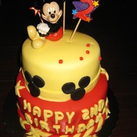 Mickey Mouse Birthday Cake HAPPY BIRTHDAY NANDIThis surprise 2ND Birthday Cake is just filled with happiness! The top of the cake includes Sugar Paste Mickey Mouse,...