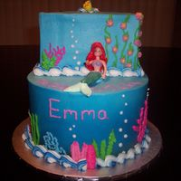 Ariel All buttercream minus Ariel and her buddy at the top