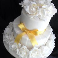 "Samantha 2 Tiers 6""9"" all fondant and gumpaste roses satin gold ribbon"