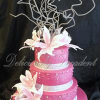"Somer 6""8""10"" fondant covered dregree/cachous details gumpaste lillies and bendy sticks"