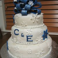 Snowflake Bridal Shower Cake Thanks for all the lovely snowflake themed cakes on CC that inspired this cake. The bride's colors were royal blue and silver with a...