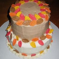 Fall Birthdays Cake Cake for employee fall birthdays. Top layer chocolate with mocha SMBC icing. Bottom layer carrot cake with cream cheese SMBC icing. Leaves...