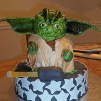 Yoda I used the teddy bear pan, and carved out the cake. Yoda sits on another cake. Covered in fondant, with fondant ears. The ears are way too...