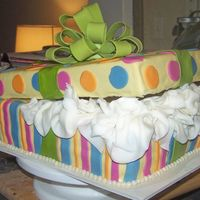 Present Cake This was made with a sheet pan that I cut into 3 rectangles. It is buttercream covered in marshmallow fondant. The colors were to match the...
