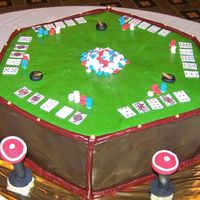 Poker Table Inspired by Duff Goldman! Loved doing this cake, and was easier than I thought. Hexagon cake covered in chocolate ganache and then MMF. The...
