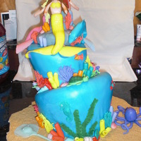 Mermaids Topsy turvy cake covered in mmf. I need to take classes on how to draw faces... the mermaids aren't very pretty. I loved making all...