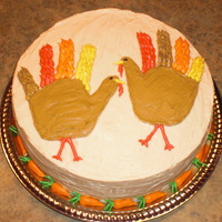 Thanksgiving Turkeys Carrot cake with maple cream cheese frosting (so annoying trying to get that type of frosting smooth). Turkeys are made from my 2 oldest...