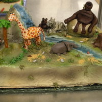 Safari Safari cake, 3D figures made out of fondant. 1st time making figures