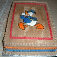 Donald Duck My first BC transfer. Chocolate cake and frosting with rasberry filling. Thanks for looking.
