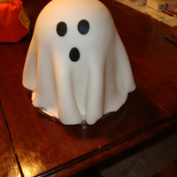 Friendly Ghost 2 six inch rounds and a half ball pan covered in fondant