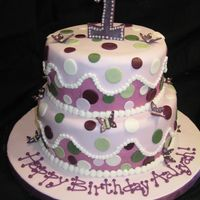 "Polka Dots And Butterflies 8"" and 10"" cake. Number one is gumpaste mixed with fondant. Dark pink underneath is buttercream with the fondant ""wave&quot..."