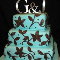 "Turquoise And Brown Wedding Cake 8, 10, 12"" square cakes. All MMF."