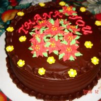 Christmas - Office Thank You Cake  My mother in laws office is moving and she wanted a christmas themed thank you cake. First time making these Poinsettias! Flowers in royal...
