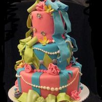First Topsy Turvy   I did this in a cake class. I had so much fun with it. Dummy cake covered in fondant with GP decorations.