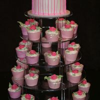Pink Rose Cupcake Tower  Lemon cake and cupcakes with raspberry cream cheese filling and almond BC icing. Marzipan/GP roses and leaves. Stripes were hard! This was...