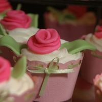 Rose Cupcake   Close-up of the rose cupcakes from the pink rose tower.