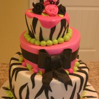 Zebra Birthday Cake  TT made using Sugarshack's DVD method. I made this for my sister's 22nd birthday. MMF with MMF accents and GP monogram with...