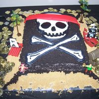 Pirate's Cake I made the skull and crossbones with color flow. Covered the cake with buttercream and then covered again using crushed oreo cookies to get...