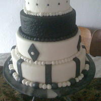 Black And White Fondant black and white four tier covered with fondant