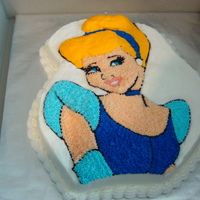 Cinderella Birthday Cake   Vanilla cake with buttercream icing. I didn't have the Cinderella cake pan, so I used the Ariel Pan and made Cinderella.