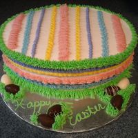 Easter Egg Cake  This is a quick cake I made for our Easter dinner. It is made from an oval pan. It is a WASC butter cake with all buttercream icing and...