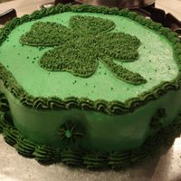 Shamrock Cake  A quick cake I made for a St. Patty's Day celebration at work. It is a WASC cake with green coloring and butter cream icing. I...
